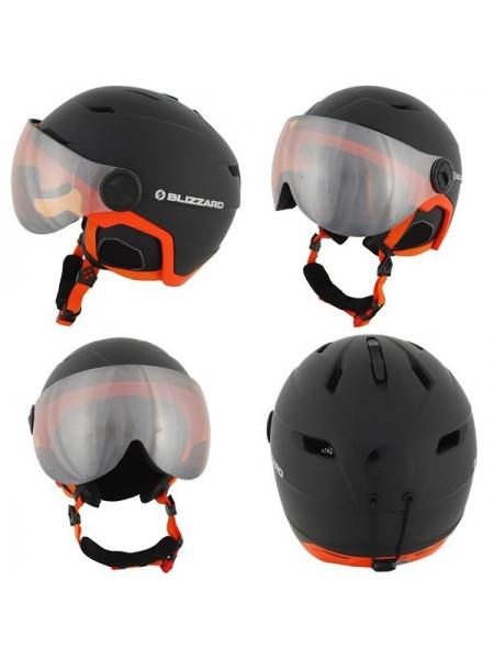 Шолом Blizzard DOUBLE VISOR black matt orange lens mirror