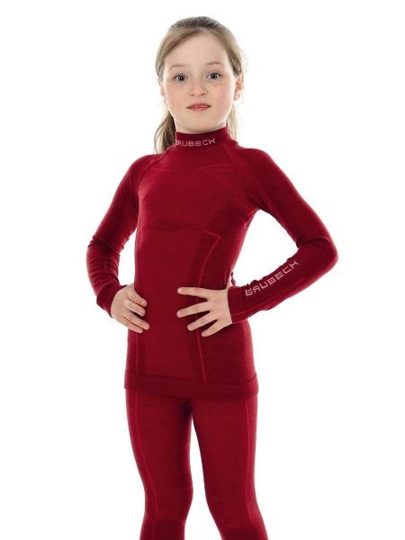 Термобілизна блуза підліткова Brubeck ACTIVE WOOL JUNIOR burgundy