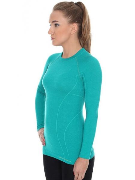 Термобілизна блуза жіноча Brubeck ACTIVE WOOL smaragdowa